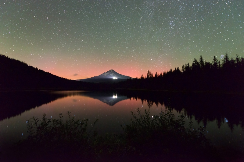 Reflections Of Aurora Borealis And Stars In Trillium Lake