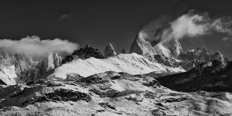 Fitz Roy Exhales In Black And White