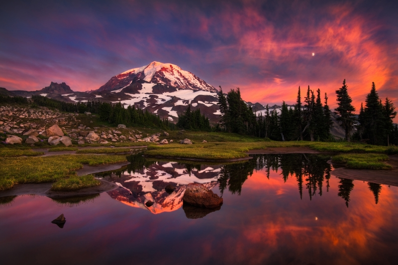 Mt. Rainier Sunset, Reflection, And Moonrise