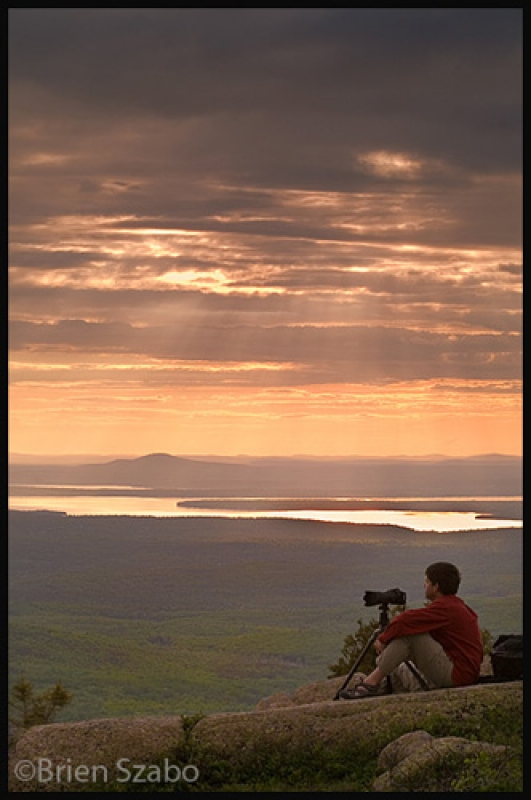 Photographer & Sunset On Cadillacr Mountain