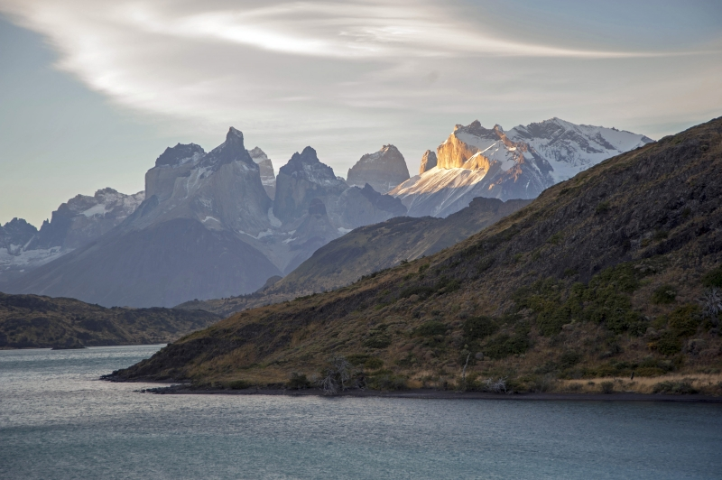Sunset On Paine Massif Mountains In Patagonia