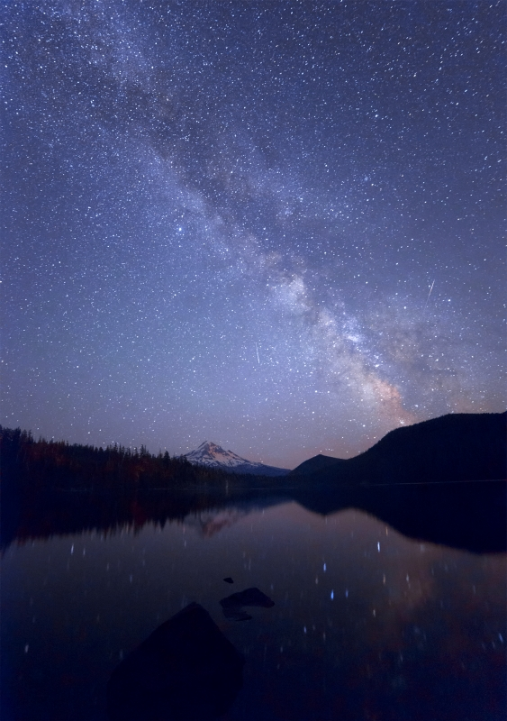Falling Star And Milky Way At Lost Lake