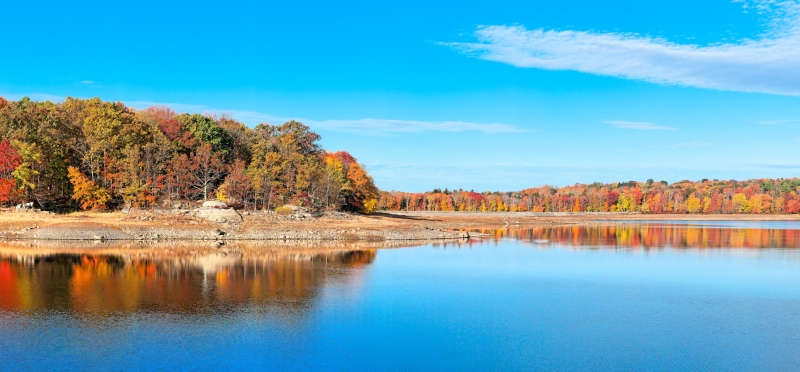Reservoir During Fall Panarama With Reflections