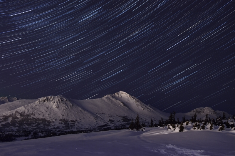 Star Trails In The Chugach Mountains