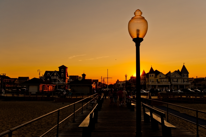 Sunset At Ocean Grove Boardwalk