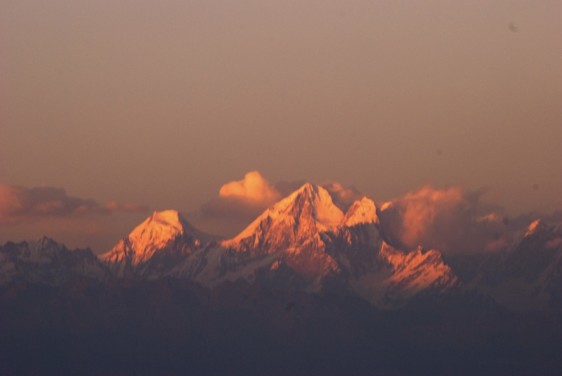 Sunset Over Himalayas From Nagarkot