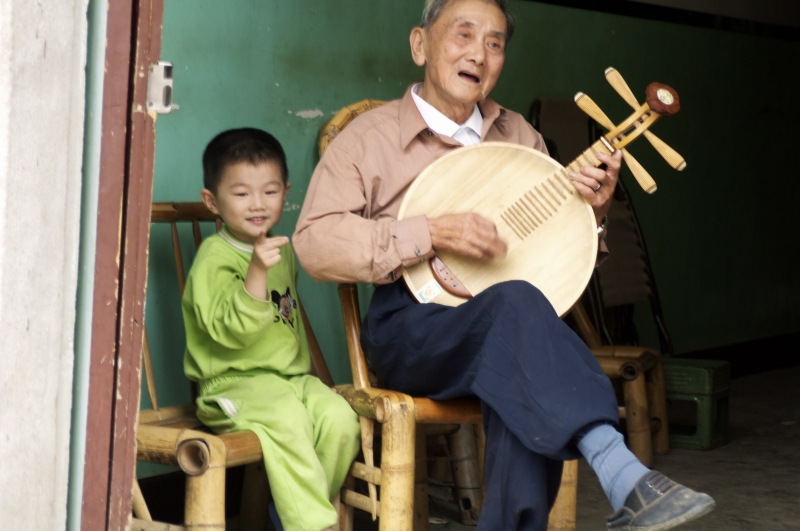 Little Boy With His Grandpa