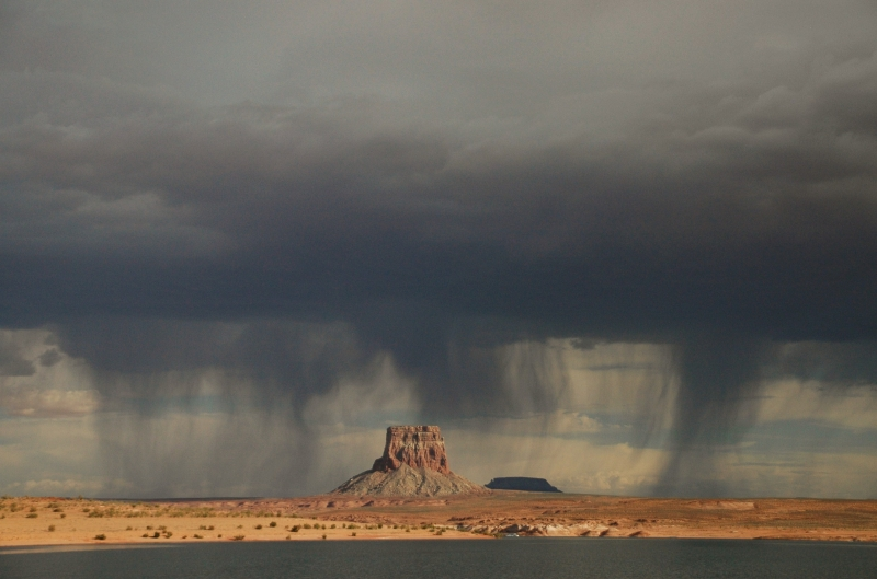 Sheets Of Rain Over Tower Butte