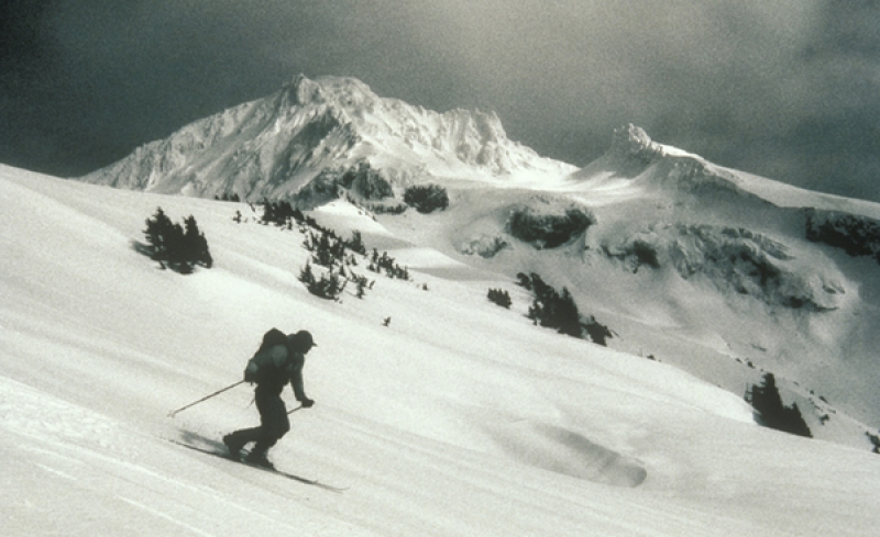 Telemark Skier On Mt. Hood