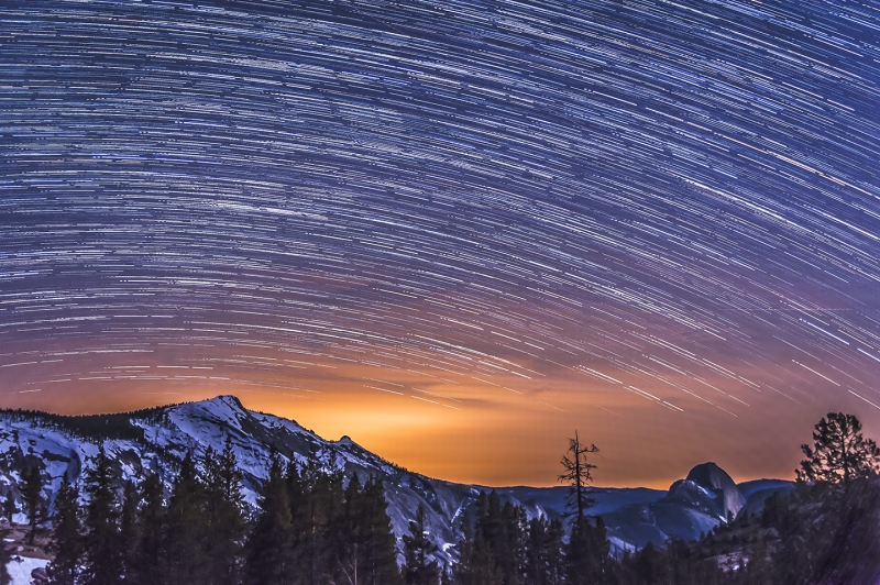 Star Trails Over Half Dome