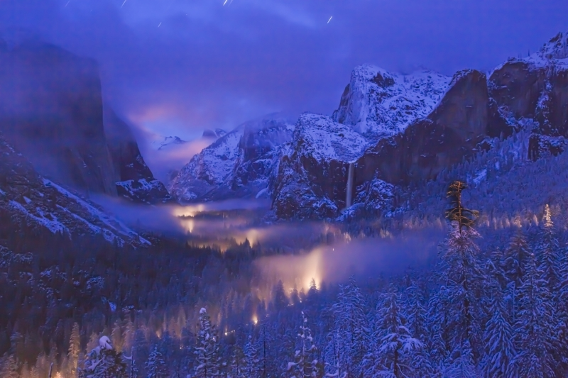 Yosemite Valley At Night After Storm