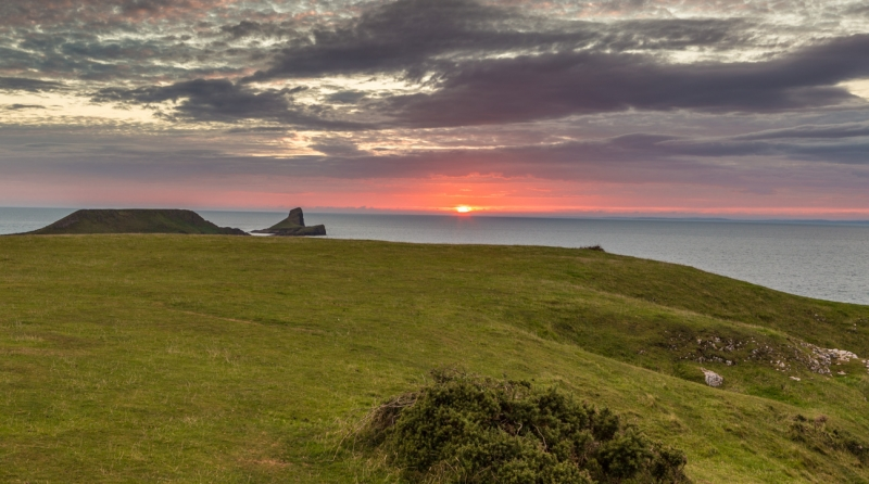 Worms Head At Sunset