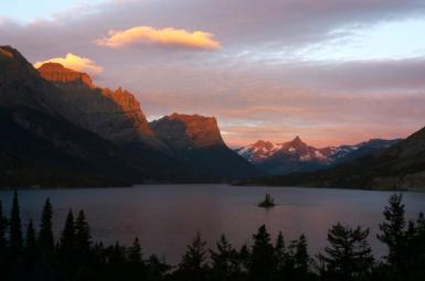 Sunrise At St. Mary Lake With Wild Goose Island