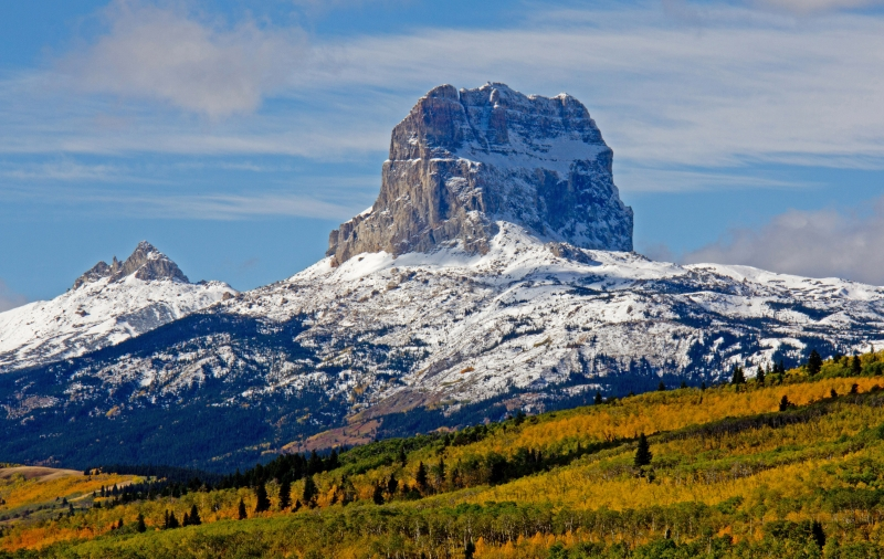 Autumn Colors And First Snowfall On Chief Mountain
