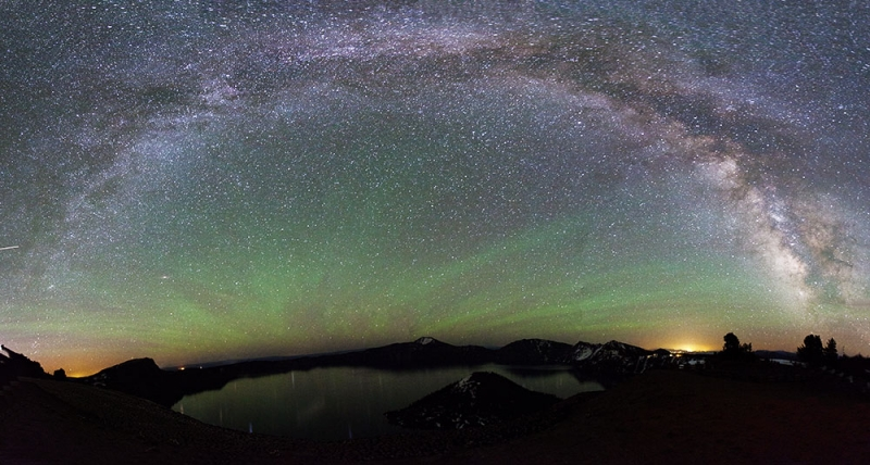 Milky Way Arch And Northern Lights