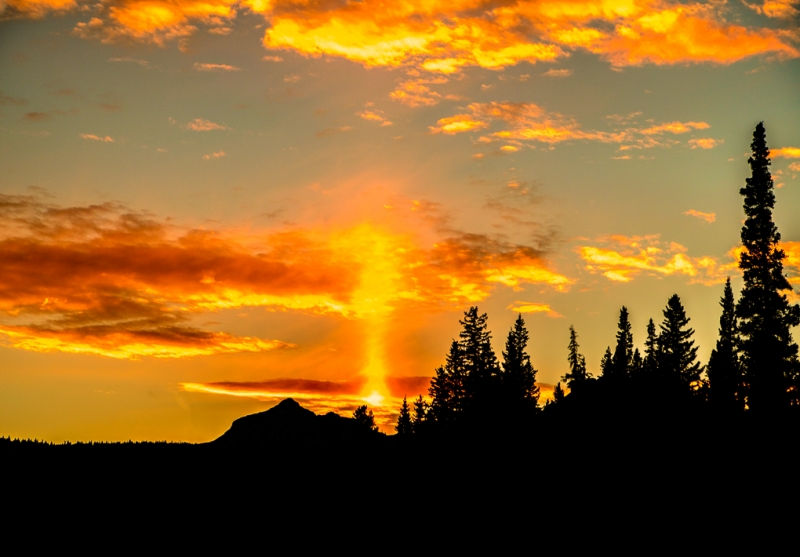 Sun Pillar At Jasper National Park