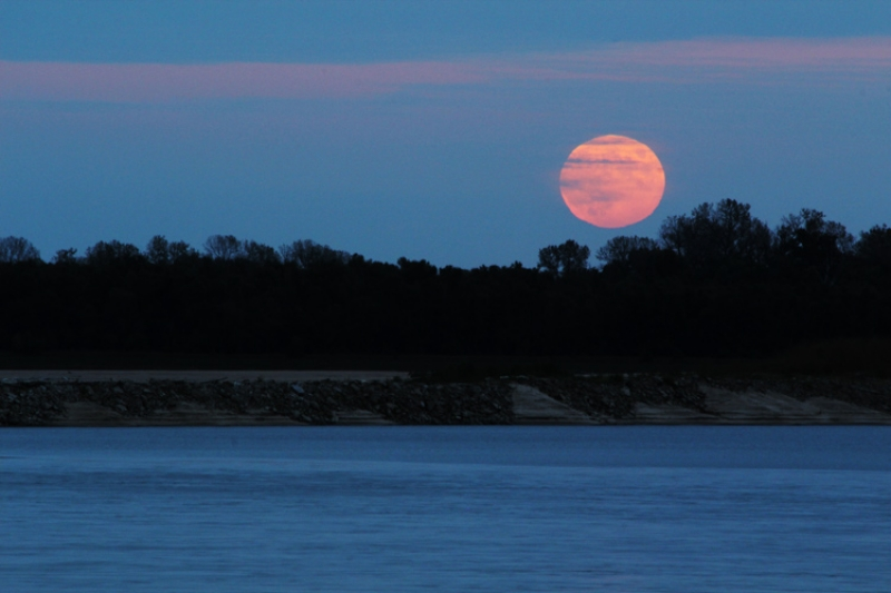 Moonrise Over The Mississippi River
