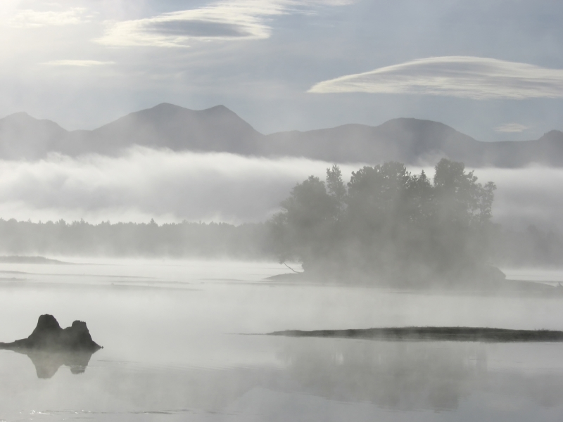 Misty Dawn On Flagstaff Lake