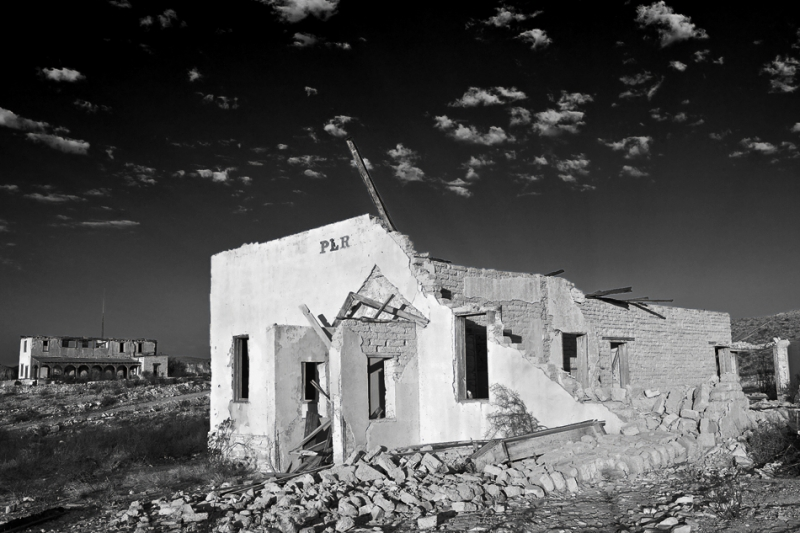Texas, Ghost Town, Ruins, Terlingua, Black And White, Landscape