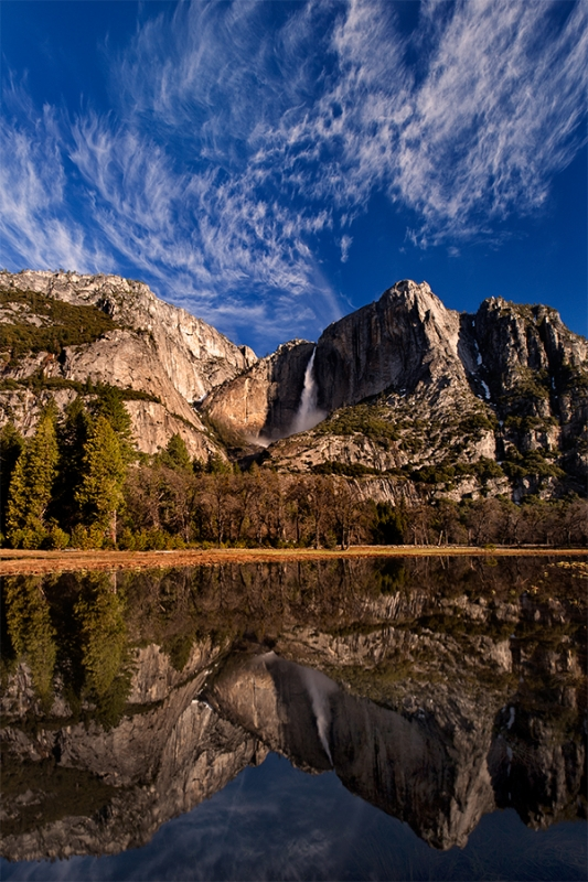 Yosemite Falls And Flooded Meadow, Yosemite National Park
