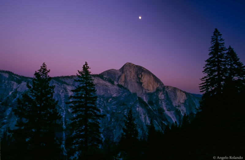 Half Dome With Moon At Sunset