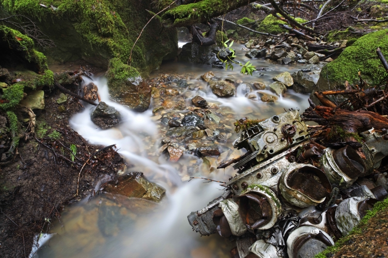 Airplane Engine In Creek