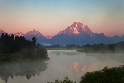 Mt Moran Misty Sunrise