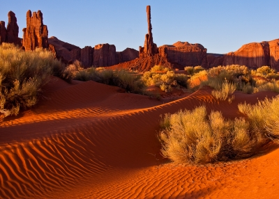 Sand Dunes With Totem Pole, Monument Valley
