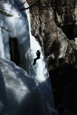 Ice Climber In Maligne Canyon