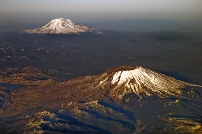 Aerial View Of Mt. Adams And Mt. St. Helens