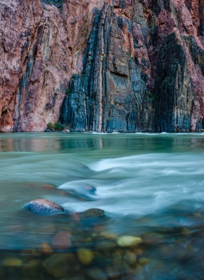 Confluance, Brght Angel Creek Merges With The Colorado River, Grand Canyon