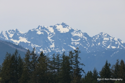 Olympic Mountain Range Shot From Seabeck Wa