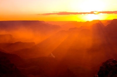 Smoky Sunset At The Grand Canyon