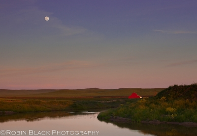 Moonset Over Red Barn