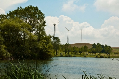 Windmills By The Lake