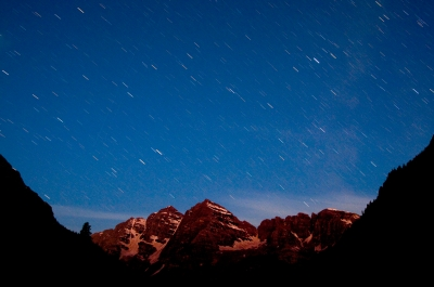 Stars And Meteors Over Maroon Bells
