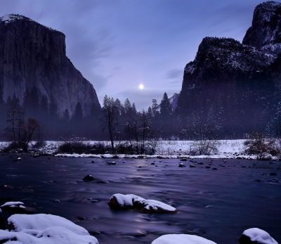 Autumn Moonrise, Gates Of The Valley (yosemite)
