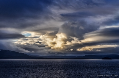 Northern Inside Passage Sunset-lit Clouds