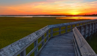 Batts Park Boardwalk At Sunset