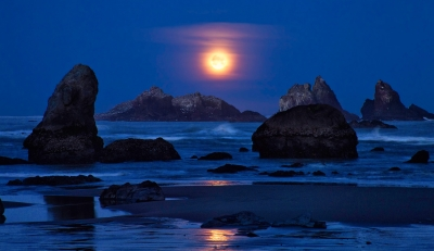 Setting Moon And Sea Stacks