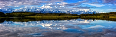 Denali And Alaska Range Panorama And Reflection Pond 2014.