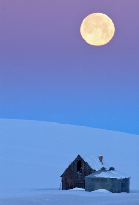 Old Homestead, Full Moon, Sunrise