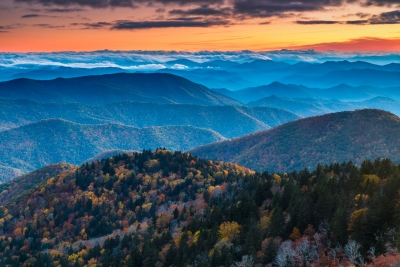 Blue Ridge Sunset In Fall