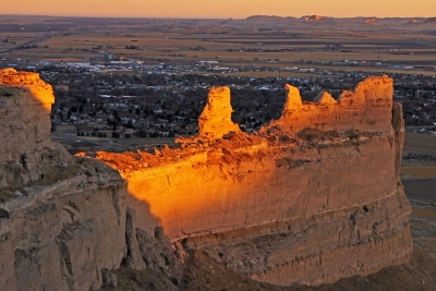 Scottsbluff Monument At Sunset