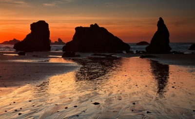 Sea Stacks At Sunset