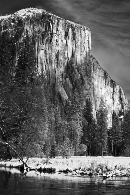 California, Yosemite National Park, El Capitan, California, Winter, Snow Landscape