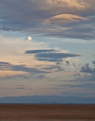 Moon Over Dry Lakebed
