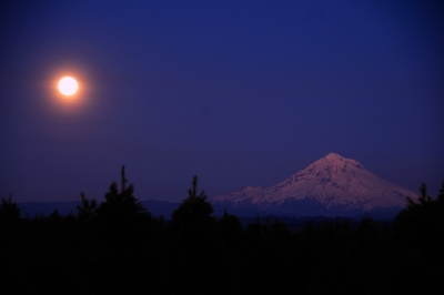Hunter Moon Over Mt Hood