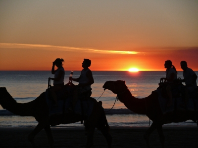 A Camel Train On Cable Beach, Western Australia