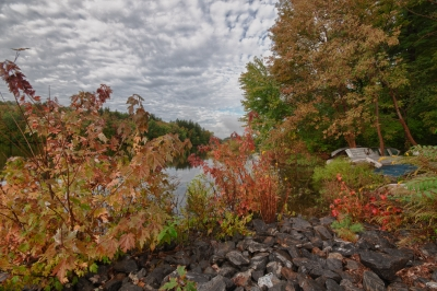 Fall, Boats, Reservoir, Stones, Water, Trees, Sky, Clouds, Hdr